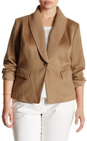Lafayette 148 New York Knit Collar Flori Cashmere Jacket (Plus Size)