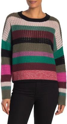 360 Cashmere Ashley Striped Open Stitch Sweater