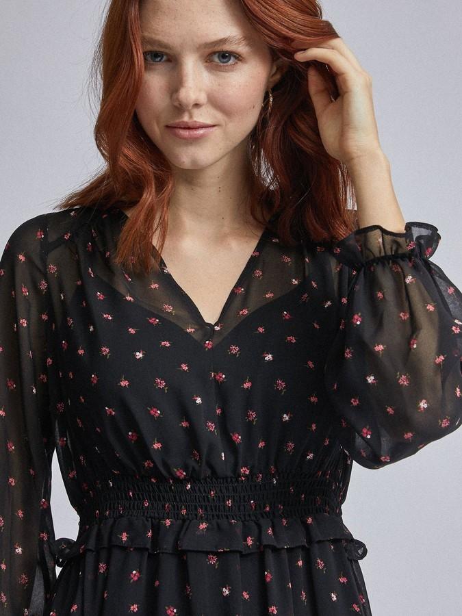 Thumbnail for your product : Dorothy Perkins Ditsy V Neck Long Sleeve Midi Dress - Black