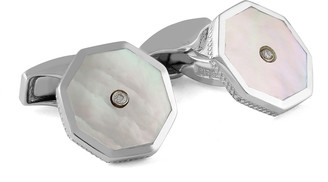 Tateossian Men's Octagon Mother-of-Pearl & Diamond Cufflinks