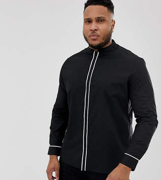 Asos Design DESIGN Plus slim shirt with mandarin collar with contrast piping-Black