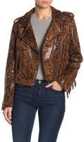 Blank NYC Blanknyc Denim Fringe Snakeskin Faux Leather Moto Jacket