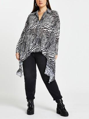 River Island RIPlus Zebra Print Hi-low Hem Shirt - Black