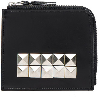 Comme des Garcons Studded Leather Zip Wallet in Black | FWRD