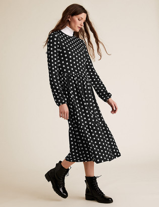 Marks and Spencer Jersey Polka Dot Midi Tiered Dress
