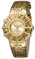 Roberto Cavalli Womens Gold Leather Strap Watch With Champagne Dial.