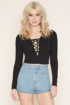 Forever 21 FOREVER 21+ Lace-Up Crop Top