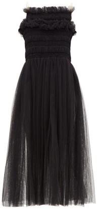 Molly Goddard Barry Hand-smocked Tulle Midi Dress - Black