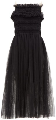 Molly Goddard Shelly Lace-up Smocked Tulle Dress - Womens - Black