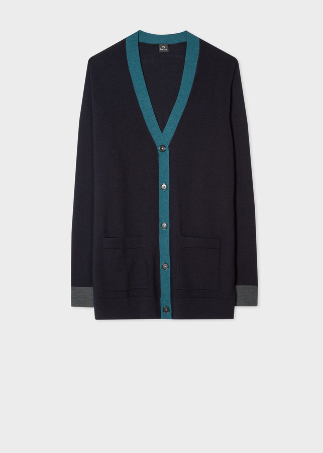Paul Smith Women's Navy Wool Long Cardigan With Contrast Trims