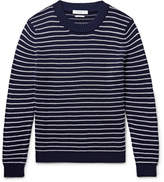 Sandro Striped Textured-cotton Sweater