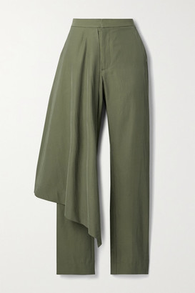 Deveaux Draped Twill Straight-leg Pants - Green