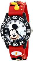"Disney Kids' W001519 ""Time Teacher"" Mickey Mouse Watch with Red 3-D Plastic Strap"