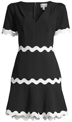 Milly Josephine Zigzag Short-Sleeve Dress
