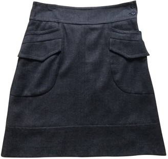 Sandro Anthracite Wool Skirt for Women