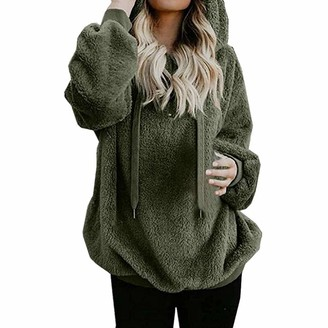 KBUY Women Warm Zip up Fleece Hoodie Fluffy Jumper Sweatshirt Oversize Ladies Fuzzy Casual Loose Velvet Sweater Long Sleeve Teddy Fleece Hoodie Drawstring Pullover Jumpers Outwear Coat Plus Size S-5XL