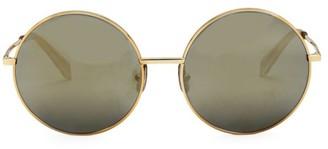 Celine 61MM Goldtone Logo Round Sunglasses