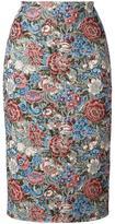 Ermanno Scervino floral jacquard pencil skirt - women - Cotton/Linen/Flax/Acrylic/other fibers - 38