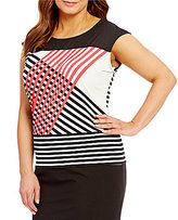 Calvin Klein Plus Crew Neck Cap Sleeve Printed Knit Top