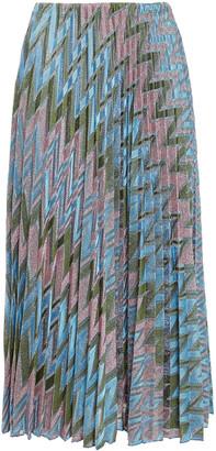 M Missoni Pleated Metallic Crochet-knit Midi Skirt