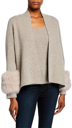 Neiman Marcus Open-Front Cashmere Cardigan with Fur