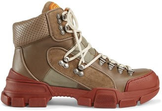 Gucci Leather and canvas trekking boots