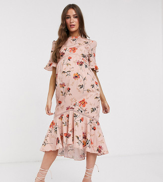 Hope & Ivy Maternity open back midiaxi dress with ruffle hem in poppy floral