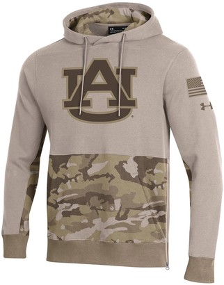 Men's Under Armour Tan Auburn Tigers Military Appreciation Pursuit Pullover Hoodie