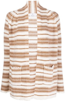 Allude Open Front Striped Knit Cardigan