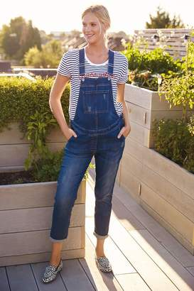 Next Womens Denim Mid Blue Maternity Dungarees - Blue