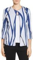 Ming Wang Print Knit Collarless Jacket