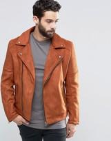 Asos Faux Suede Biker Jacket In Orange
