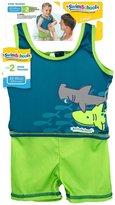 Aqua Leisure Boys 1 pc swim trainer, shark print top, solid shorts, with back zipper - L