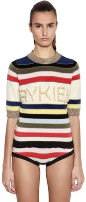 Sonia Rykiel Striped Wool & Lurex Sweater W/ Pearls