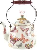 Mackenzie Childs MacKenzie-Childs - Butterfly Garden Enamel Tea Kettle - White - Large