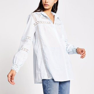 River Island Womens Blue long sleeve embroidered detail shirt