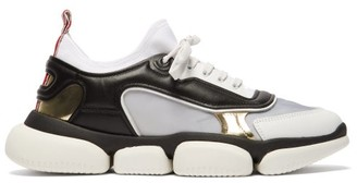 Moncler Briseis Metallic And Mesh Low-top Trainers - Womens - Black Silver