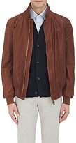 Luciano Barbera Men's Reversible Leather & Broadcloth Bomber Jacket
