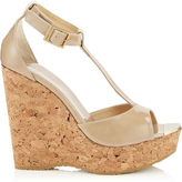 Jimmy Choo PELA Nude Patent Leather Wedge Sandals