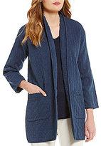 Eileen Fisher Petites High Collar Long Jacket