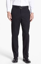 JB Britches Men's Flat Front Worsted Wool Trousers