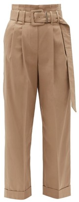 Brunello Cucinelli High-rise Cotton-blend Trousers - Light Brown