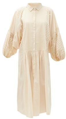 Mes Demoiselles Alexandra Polka-dot Cotton Midi Shirt Dress - Beige