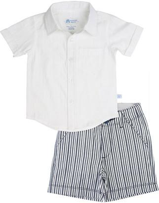 RuffleButts Short-Sleeve Dobby Shirt w/ Striped Shorts, Size 3M-5