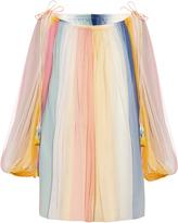 Chloé Rainbow off-the-shoulder silk dress