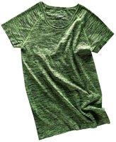 Generic Soft Round Neck Short Sleeve Melange T-Shirt Gym Yoga Tees Sports Tops for Women