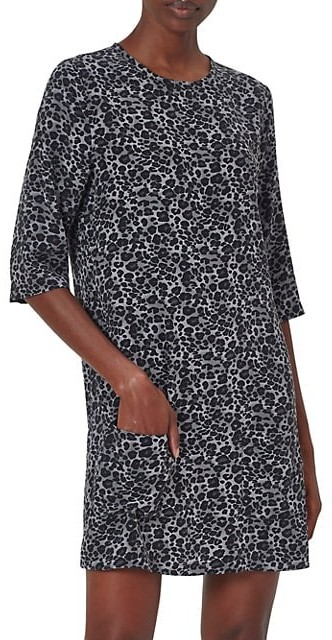 Equipment Aubrey Leopard-Print Silk Shift Dress