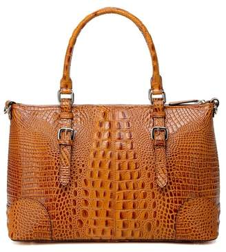 Vicenzo Leather Carole Croc Embossed Leather Tote Bag