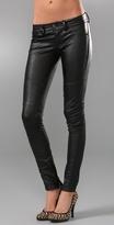 Blank Denim Leather Motor Skinny Pants
