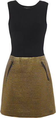 Boutique Moschino Quilted Lame And Ribbed-knit Mini Dress
